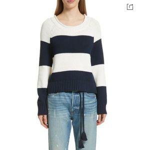 FRAME Navy Off White Bold Stripe Pullover Sweater